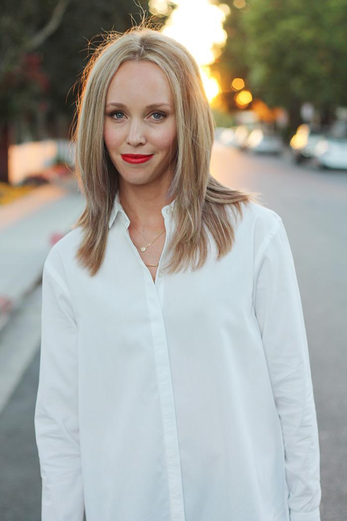 nars heatwave, white button down, oversized button down, womens collared shirt, oversized collared shirt
