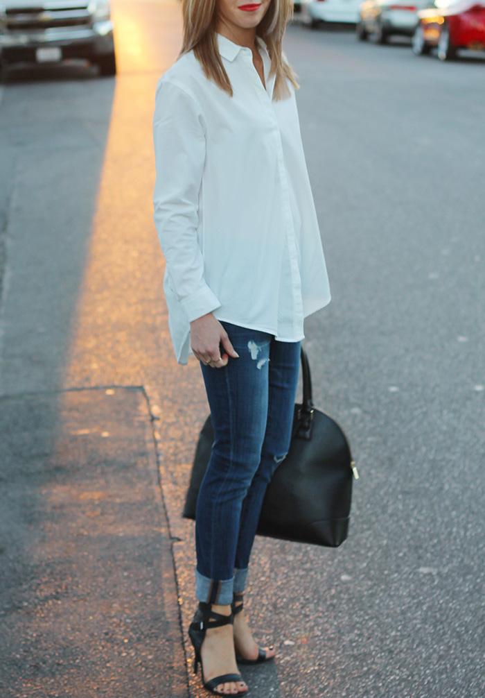 white button down, distressed denim, joe's jeans, joe's shoes, joe's vintage reserve jeans