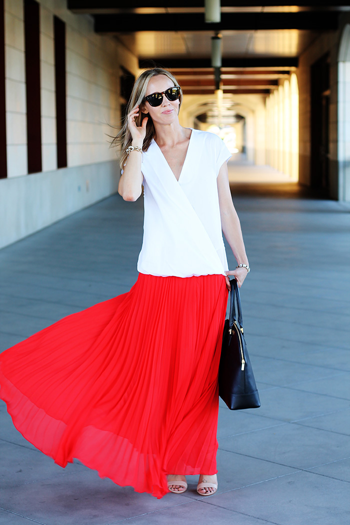 pleated maxi skirt, red maxi skirt, white sleeveless top, sleeveless blouse, nude heels, nude strappy sandals