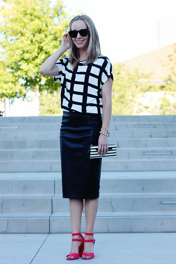 black and white shirt, grid print shirt, boohoo shirt, leather pencil skirt, faux leather skirt, red heels, red sandals