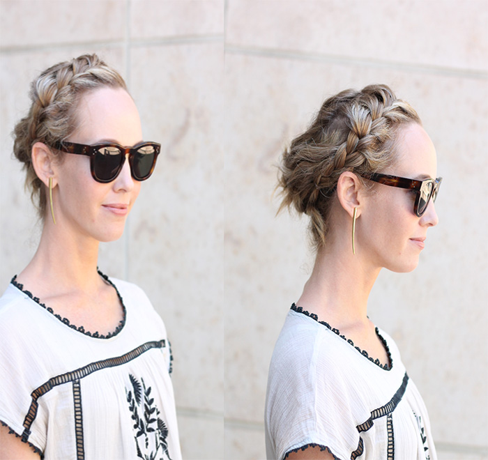 Celine sunglasses, peasant top, THML shirt, braided updo, bobo hairstyles, summer hairstyles