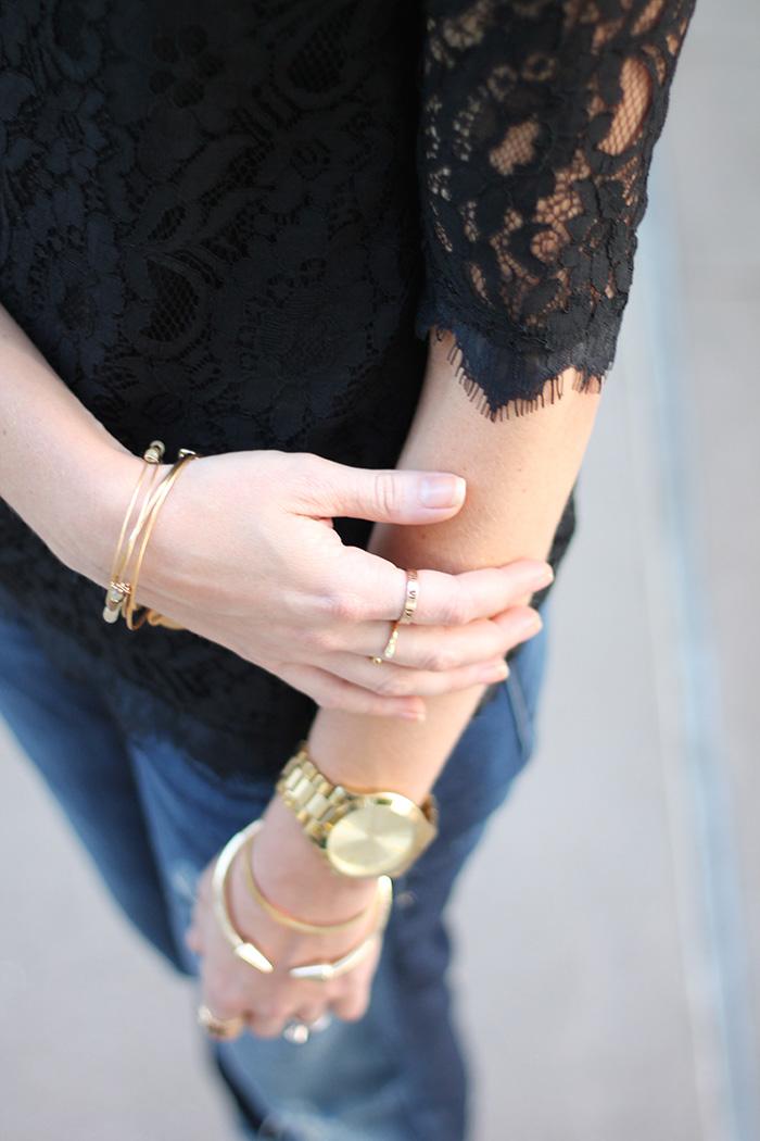 lace shirt, black lace shirt, piperlime lace shirt, alex + ani bracelets, alex and ani