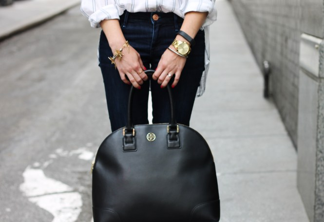 michael kors runway watch, fitbit, black tory burch bag, robinson dome satchel, j.Crew bracelet,