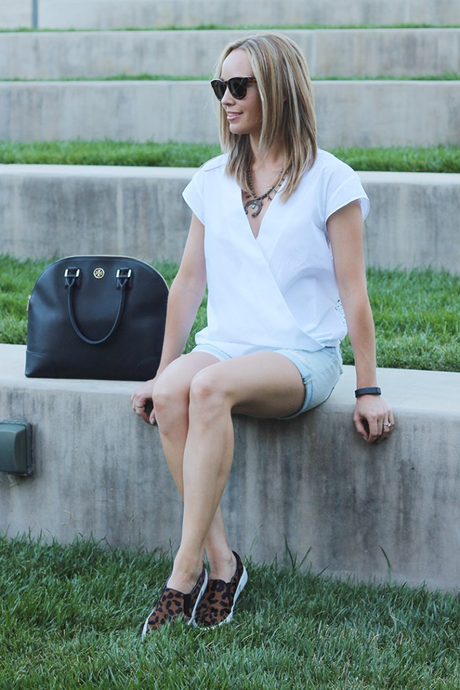 tory burch robinson dome, zara shirt, gap shorts, leopard flats, animal print flats