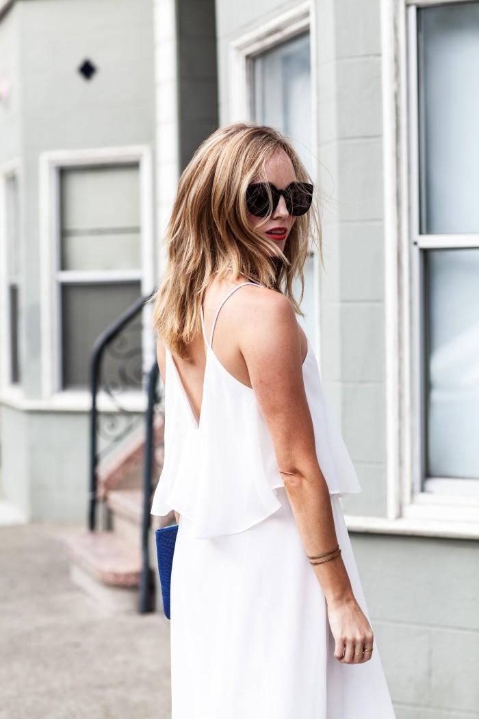 white dress, karen walker super duper sunglasses, open back dress, strappy back dress, lookbookstore dress