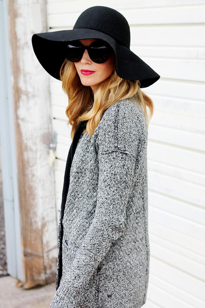 Lululemon post practice cardigan, lululemon cardigan, ysl lipstick, black floppy hat, casual outfit ideas, mom style, mom style blog