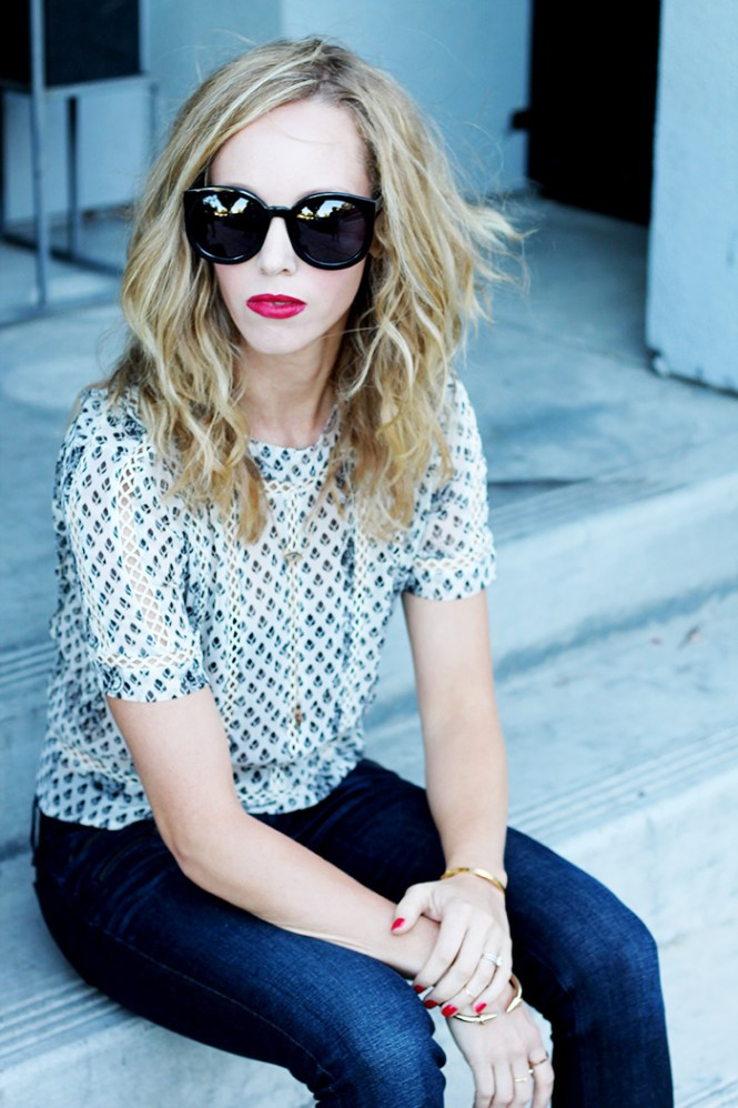 asos blouse, sheer blouse, karen walker sunglasses, mac russian red, casual outfit ideas