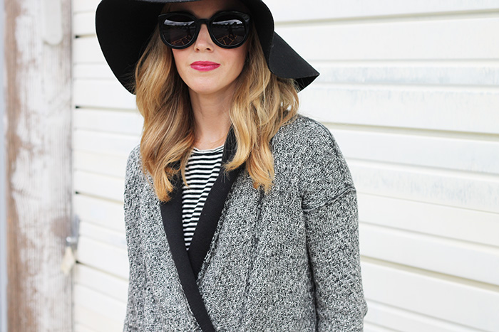 cardigan and floppy hat