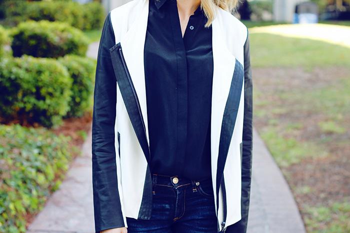 black and white blazer, black and white jacket, fall jackets, white jackets for fall/winter, uniqlo shirt, black silk button down
