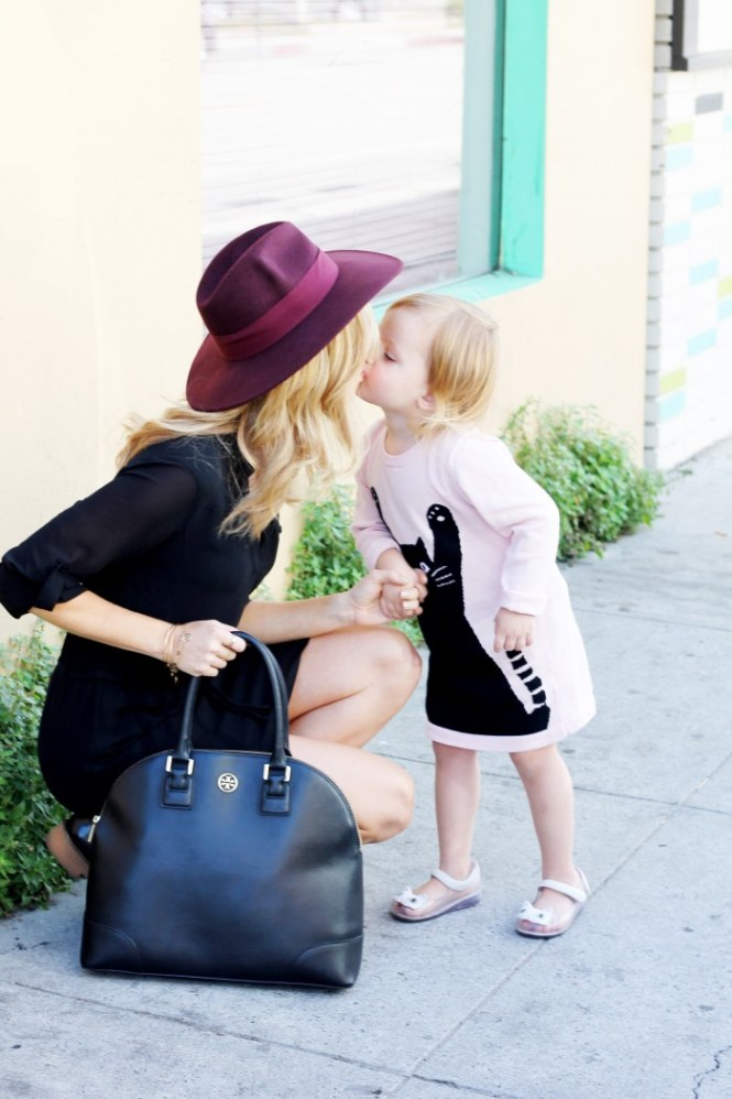 tory burch robinson dome, black bag, bags for moms, handbags for moms, maroon hat, hats for women, style for new moms