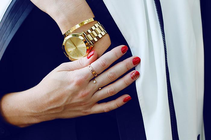 red floss gloss nail polish, Michael Kors slim runway watch, Ciela bangle, baublebar personalized bracelet, tiffany atlas ring