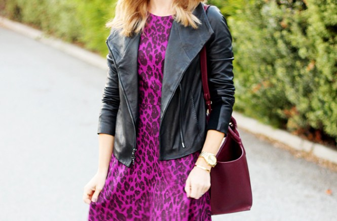 Vince Scuba jacket, leopard dress, purple leopard dress, purple animal print dress, michael kors runway watch, ciela bangle bauble bar