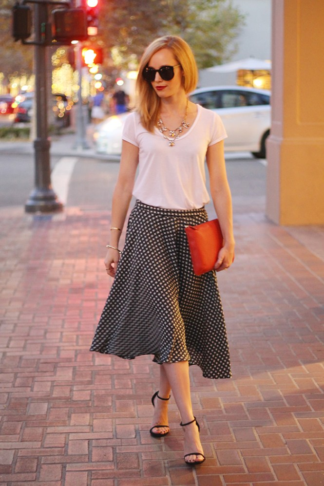 piperlime skirt, midi skirt, black and white shirt, stuart weitzman nudist sandal, susu clutch, red clutch, splendid tee, j.crew layered necklace