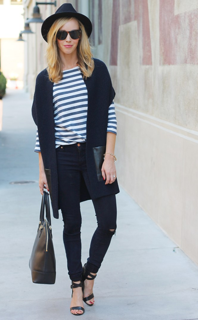 ANN TAYLOR PATCH POCKET TOPPER, celine sungalsses, tory burch robinson dome, black skinny jeans, black and navy outfits, j.crew striped shirt, mom style blog