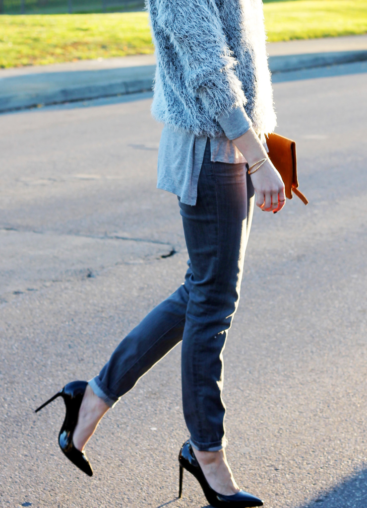 All gray with black pumps