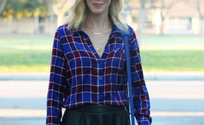 Plaid button down and a skirt