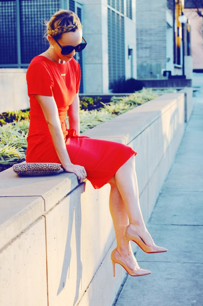 red dress with nude pumps