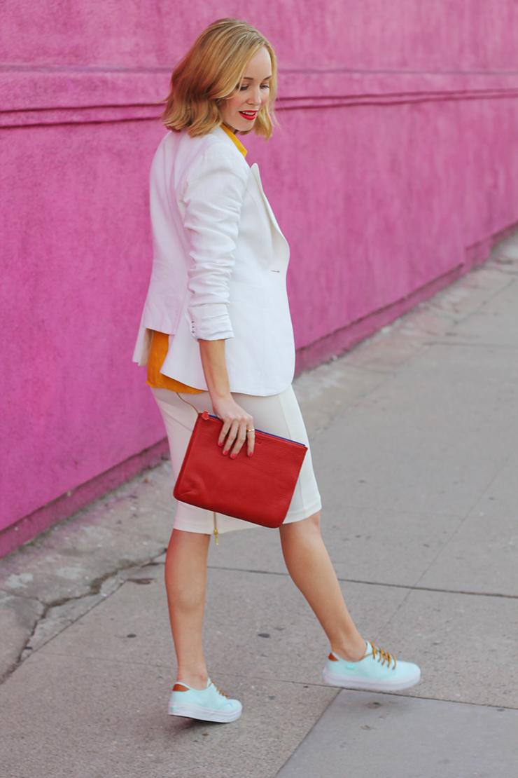 white blazer with white skirt
