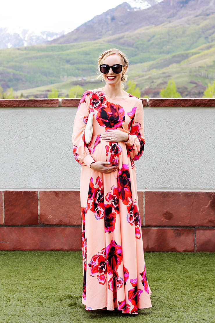 Blush and floral maxi dress asos floral dress clare v clutch maternity maxi ombrellifo Images