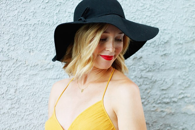 floppy hat and summer dress