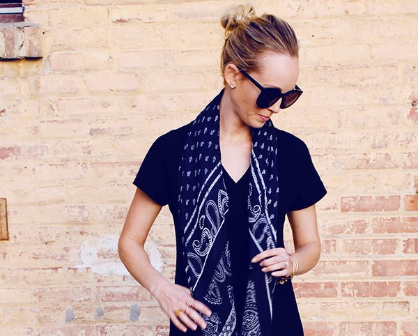 bandana scarf with sweater dress