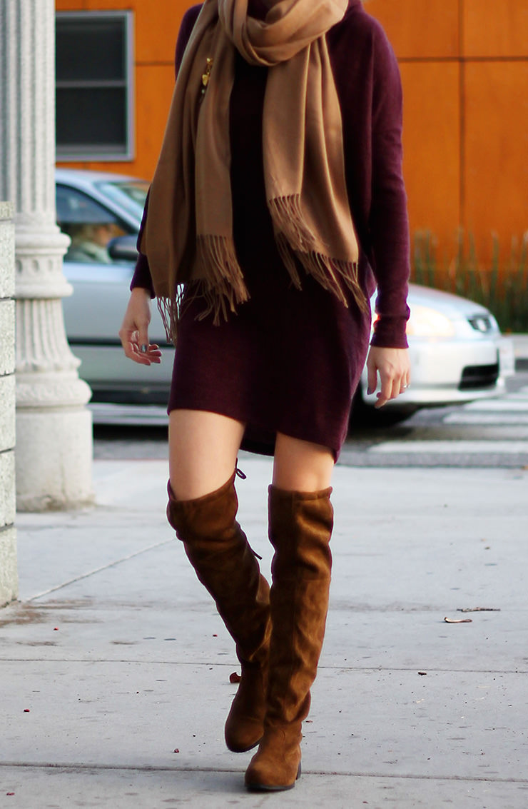 Choies Coffee Suedette Pointed Laced Back Over The Knee Flat Boots