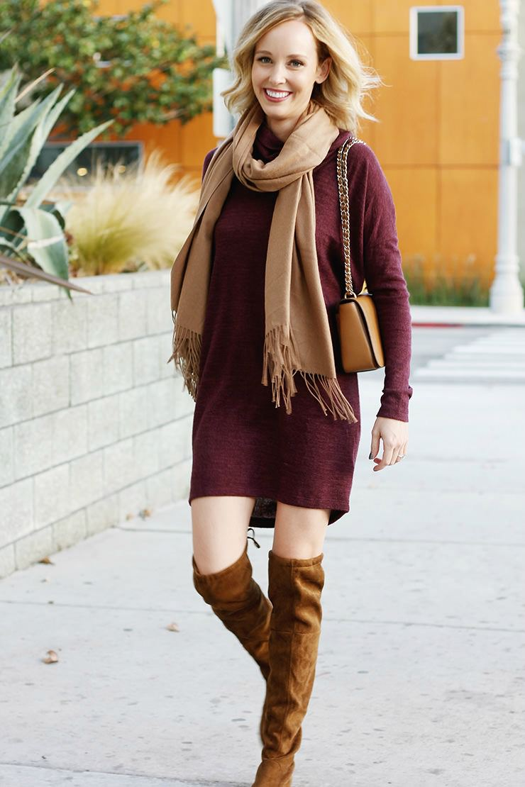 Over the knee boots with a dress