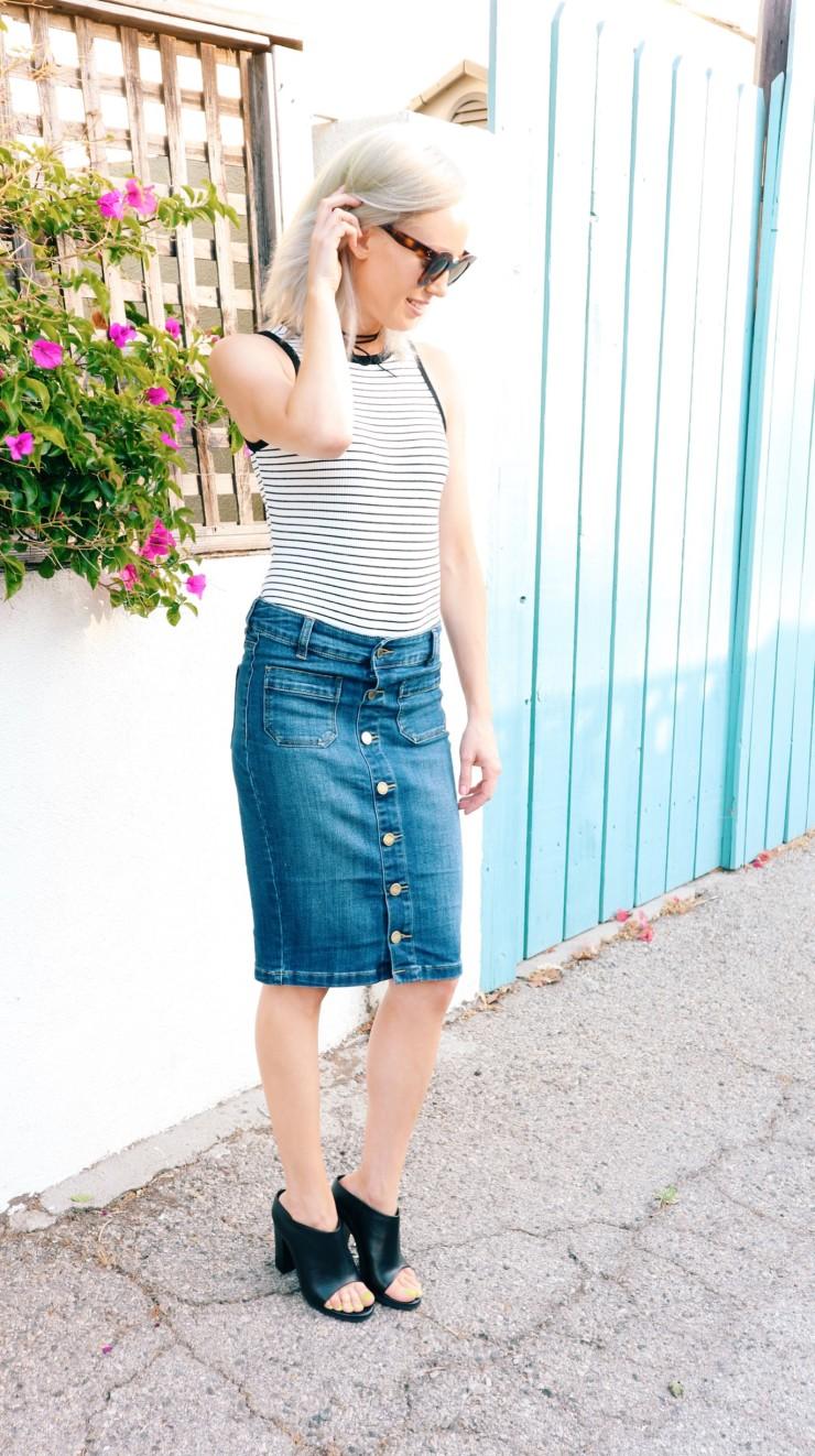 Denim pencil skirt limited