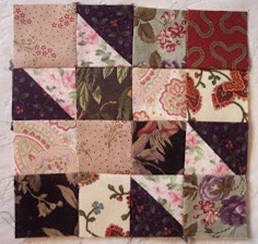 Simple four patch and triangle quilt pattern block