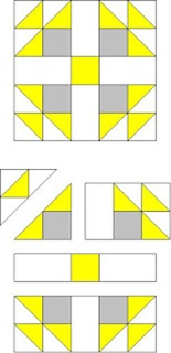 Simple quilt pattern block of squares and triangles