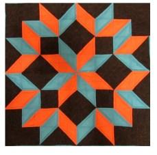 Tutorial Orange and Blue Star Quilt Pattern