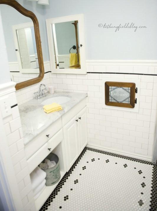 Hex and Subway Tile DIY Bathroom