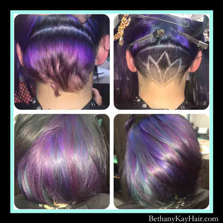 purple haircut with under cut tattoo