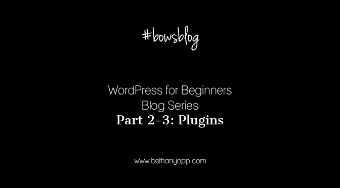 WordPress for Beginners Blog Series Part 2-3: Plugins