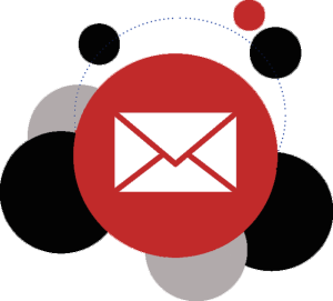 mail icon surrounded by bubbles