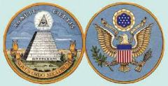 The Great Seal of the United States of America is also shown on the one dollar bill.