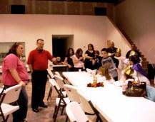 pastor Christian Cleghorn telling us testimony at drama 3rd night