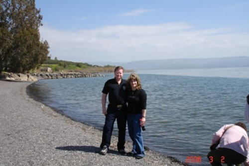 Ray & me on the Sea of Galilee, Israel