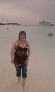 Me on the beach at Half Moon Cay, Bahamas