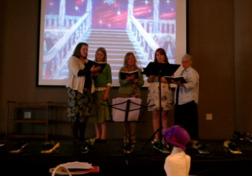 """Tea Time Singers"" Vicki Williams, Amber Welton and others singing ""Footsteps of Jesus"""