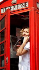 Woman phone booth