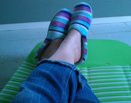 Me in slippers in sunroom