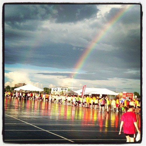 Double rainbow before KC Glow Run 5K