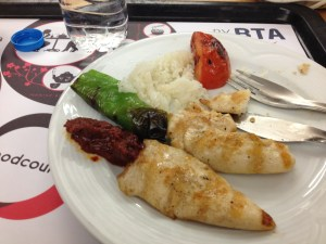 Chicken kabob with veggies in Turkey