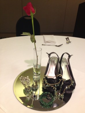 table decorations -shoes and jewelry