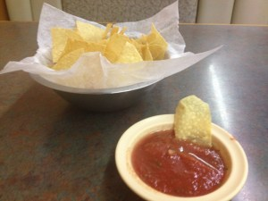 Celebrating with chips and salsa!