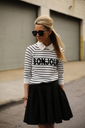 woman in bonjour shirt