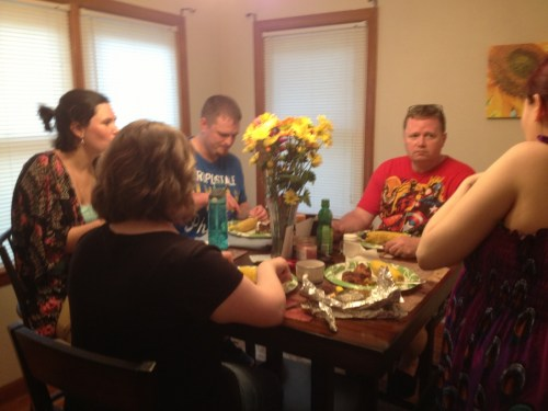 Everyone digging in! Left to right: Leah, Heather, Heather's boyfriend Matt, Ray, & part of Eden