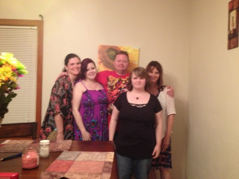 Our family, Ray's 50th bday Left to right: Heather, Eden, Ray, Leah & me