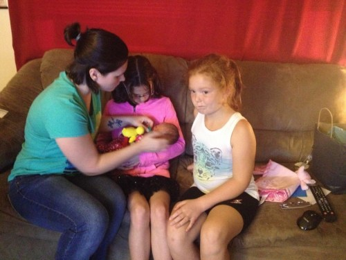 Heather, Annabelle holding Piper, Violet